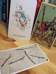 Five of Wands. Linestrider Tarot, Smith-Waite Centennial Deck, Wild Unknown Tarot