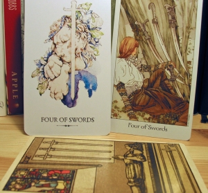 Four of Swords. Linestrider Tarot, Dreaming Way Tarot, Smith-Waite Centennial Deck