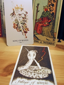 Kind of Wands. Linestrider Tarot, Smith-Waite Centennial Deck, Wild Unknown Tarot