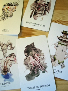 Some of the darker cards in the deck: Death, Five of Pentacles, The Tower, Three of Swords, the Devil
