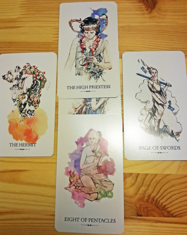 Four nutriments spread with the amazing Linestrider Tarot Deck.