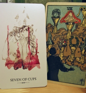 Seven of Cups. Linestrider Tarot and Smith-Waite Centennial Deck
