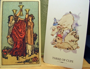 Three of Cups. Smith-Waite Centennial Deck and Linestrider Tarot